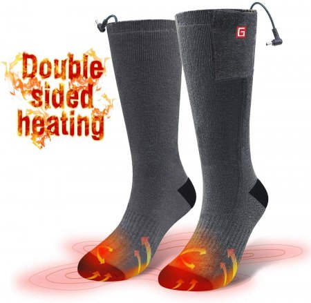 GLOBAL VASION Rechargeable Battery Heating Socks. 3.7V Winter Warm Cycling Hiking Skiing Outdoor Sports Electric Heated Socks