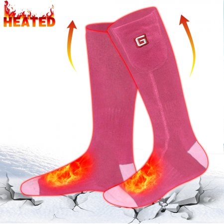 Global Vasion Pink Winter Warm Socks 3.7V Recharegable Battery Man Electric Heated Socks Women