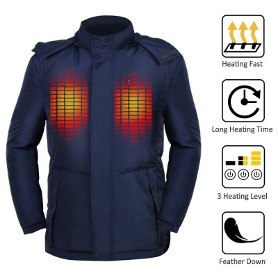 GLOBAL VASION Heated Jacket Winter Down Coat with Detachable Hood USB Heated Winter Warm Jacket for Men