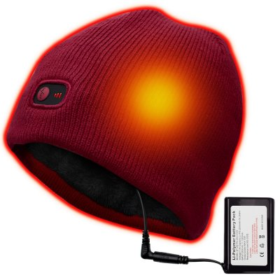 Rechargeable Electric Warm Heated Hat Winter Battery Beanie,7.4V Li-ion Battery Warm Winter Heated Cap ,3 Heat