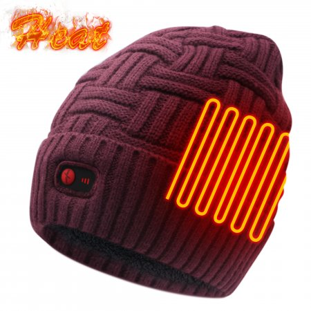 Global Vasion Battery Heated Hat Rechargeable Operated Winter Warming Women Men Heating Warmers Beanie