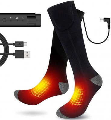 Global Vasion Electric Heated Socks Men, 3.7V Cold Winter Warm Skiing Socks,Rechargeable Battery Heating Socks Women