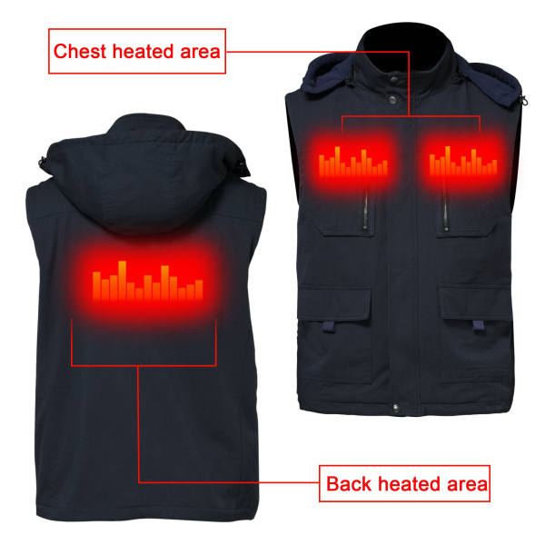 GLOBAL VASION Electric Warmer Rechargeable Heated Vest With 3 Heat Settings