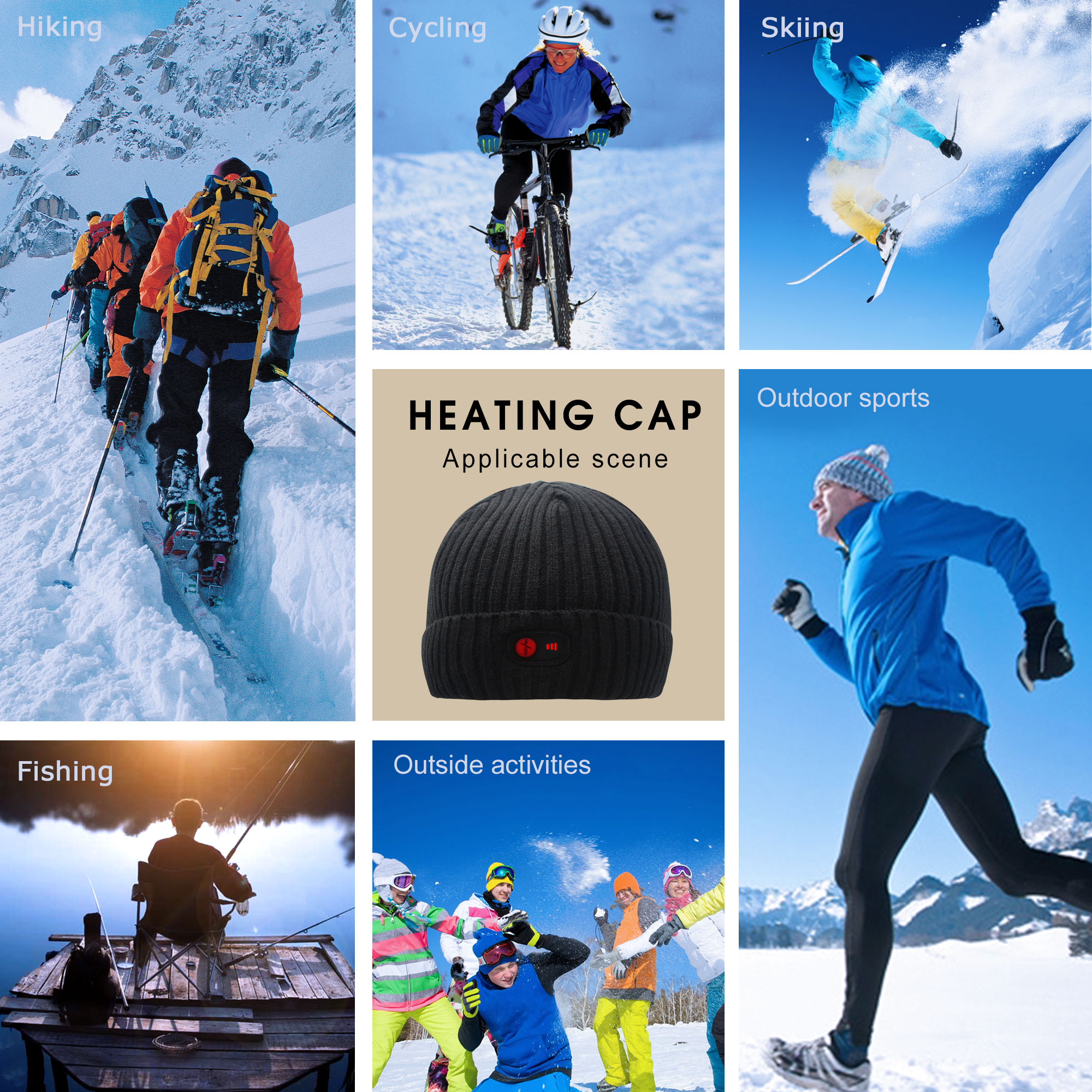 7.4V Heated Hat Winter Unisex Soft Rechargeable Battery Durable Heating Beanie Cap Black Warm Knit Beanie