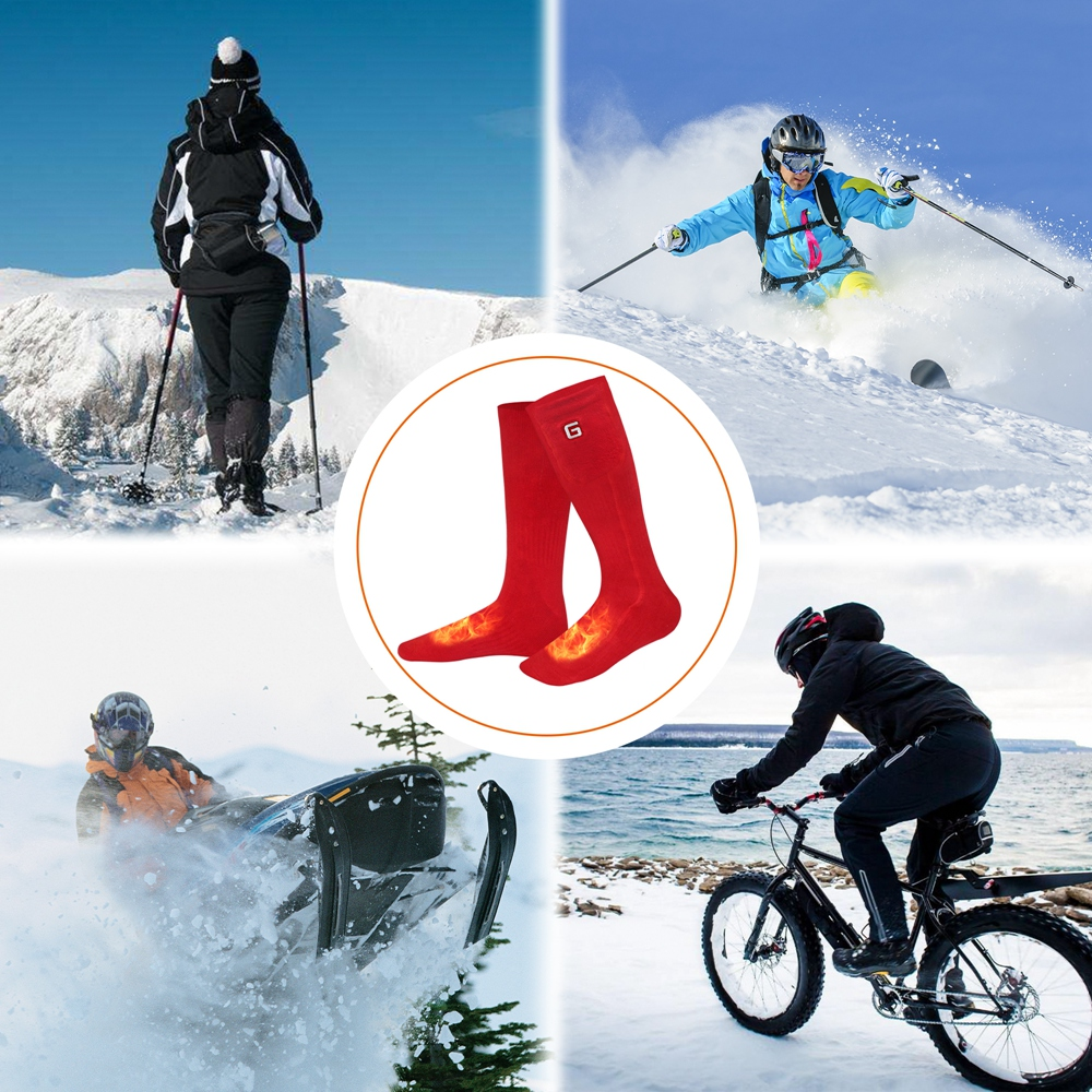 Global Vasion 3.7V Heated Socks,Battery Operated Ski Socks Rechargeable Unisex Warm Christmas Gift 3.7V Electric Heated Socks For Hunting