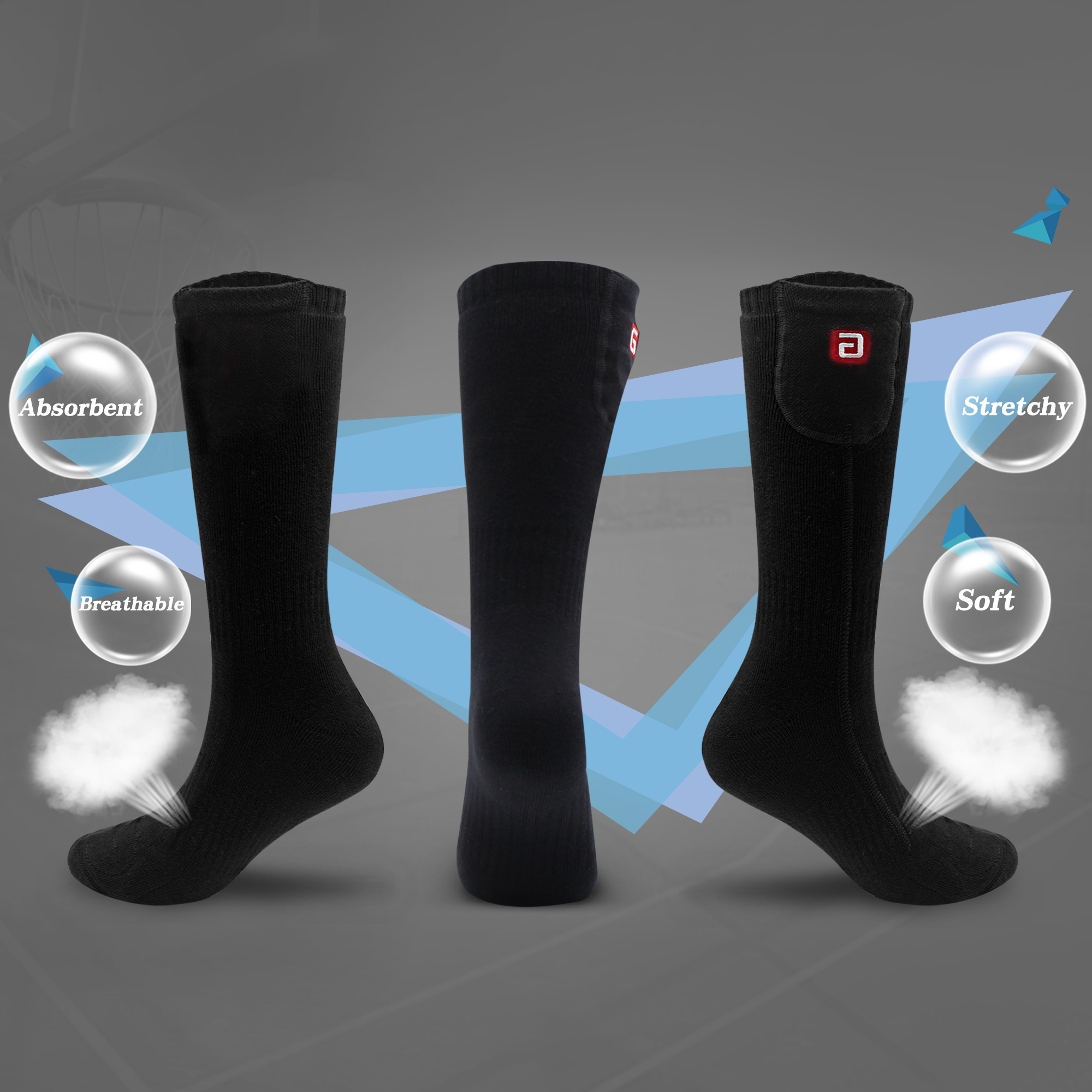 Global Vasion 3.7V Heated Socks Rechargeable Cold Winter For Man And Woman ( with Extra Batteries)